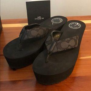 Coach Shoes - Black Wedge Coach Flip Flops